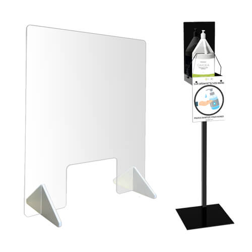 Protective panels & sanitizer stations