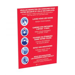 22'' x 28'' signage (safety guidelines)